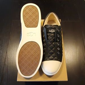 UGG Jenma Quilted Black Leather Sneakers - Size 10
